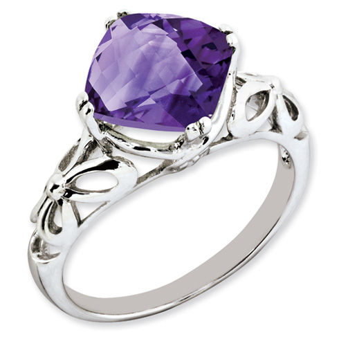 3 ct Sterling Silver Amethyst Ring
