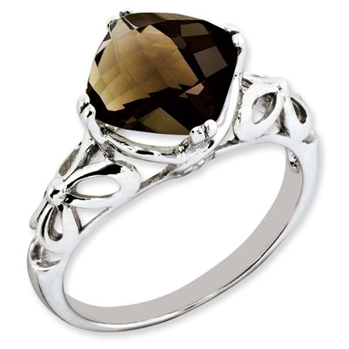 3.2 ct Sterling Silver Smokey Quartz Ring