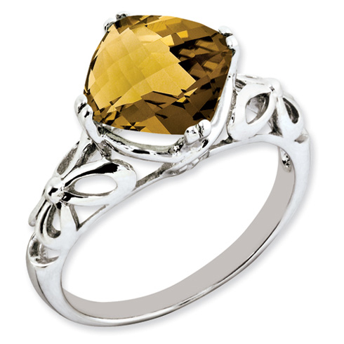3.2 ct Sterling Silver Whiskey Quartz Ring
