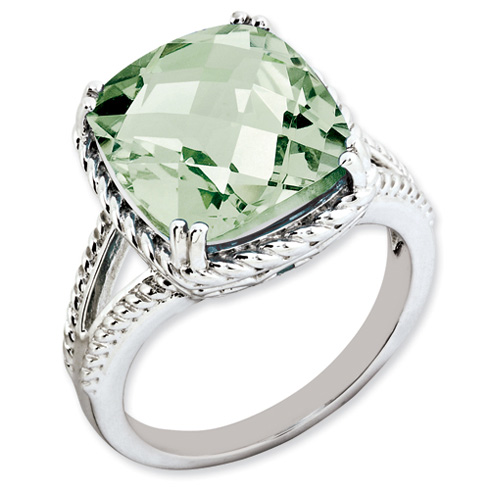 7 ct Sterling Silver Green Quartz Ring