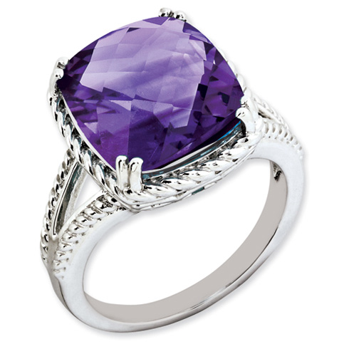 7.6 ct Sterling Silver Amethyst Ring