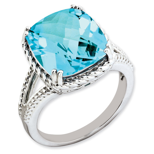9.53 ct Sterling Silver Light Swiss Blue Topaz Ring