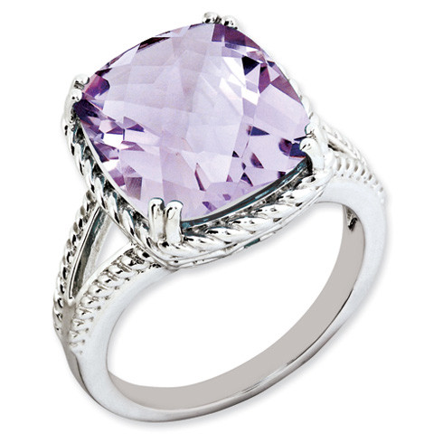 7 ct Sterling Silver Pink Quartz Ring