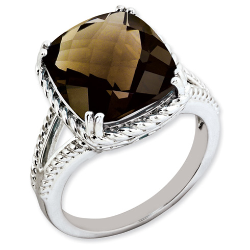 7 ct Sterling Silver Smokey Quartz Ring