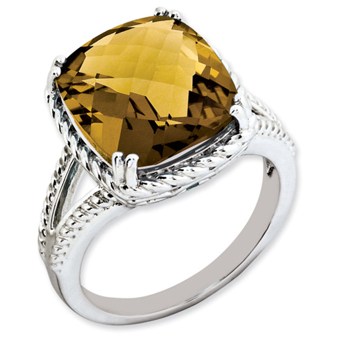 7 ct Sterling Silver Whiskey Quartz Ring