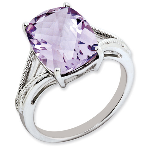 6.55 ct Sterling Silver Pink Quartz Ring