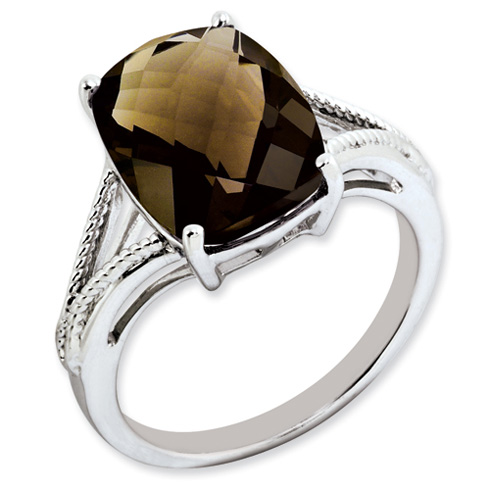 Sterling Silver 6.55 ct Smoky Quartz Ring