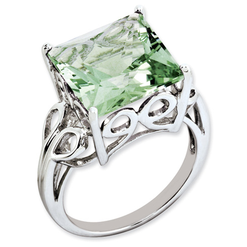 7.85 ct Sterling Silver Green Quartz Ring