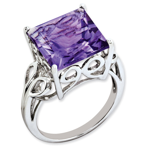 7.85 ct Sterling Silver Amethyst Ring