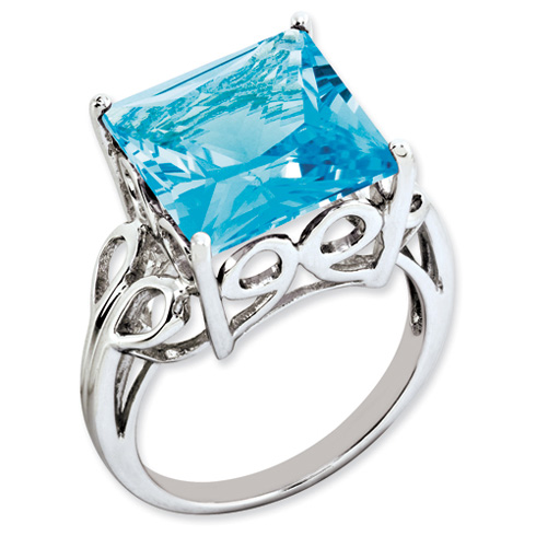 10.35 ct Sterling Silver Light Swiss Blue Topaz Ring
