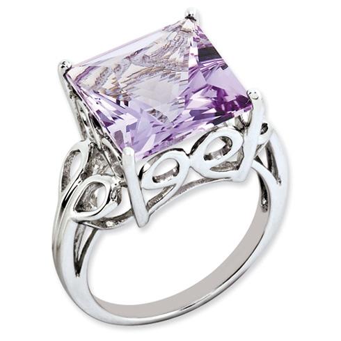 Sterling Silver 7.85 ct Princess-cut Pink Quartz Ring