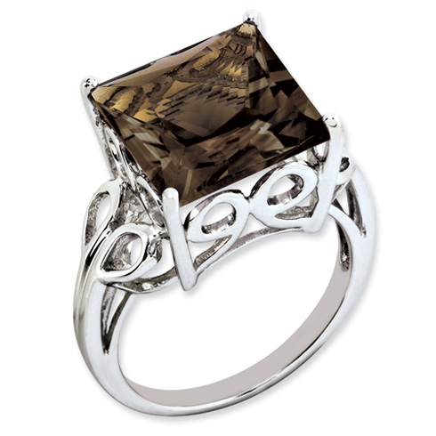 Sterling Silver 7.85 ct Smoky Quartz Ring
