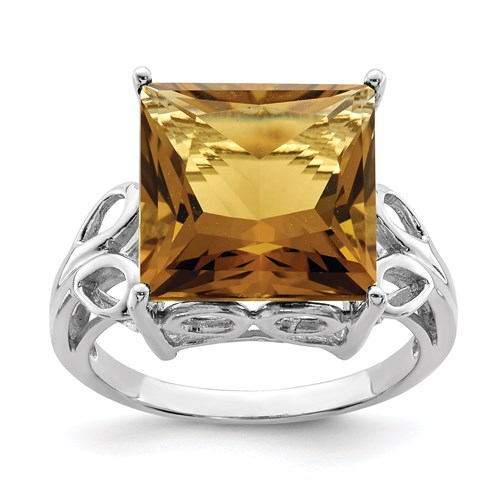 7.85 ct Sterling Silver Whiskey Quartz Ring