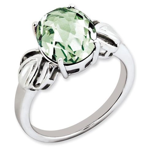 3.4 ct Sterling Silver Green Quartz Ring