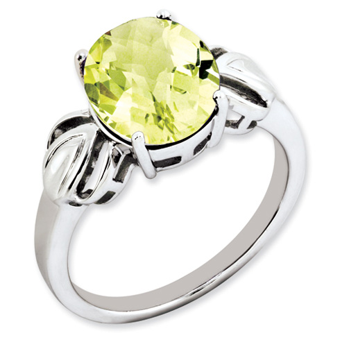 3.4 ct Sterling Silver Lemon Quartz Ring