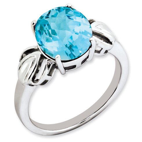 4.4 ct Sterling Silver Light Swiss Blue Topaz Ring