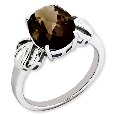 Sterling Silver 3.4 ct Oval Smokey Quartz Ring