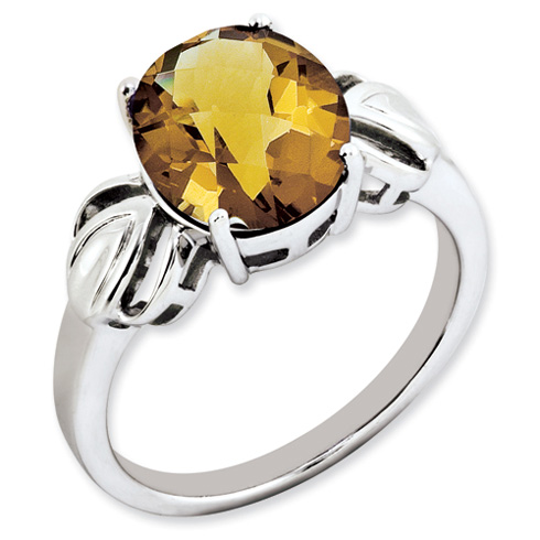 3.4 ct Sterling Silver Whiskey Quartz Ring