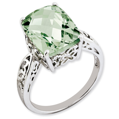 6.55 ct Sterling Silver Green Quartz Ring