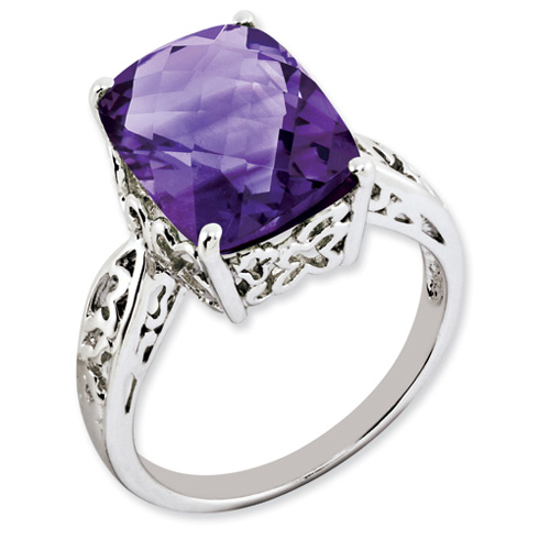 6.25 ct Sterling Silver Amethyst Ring