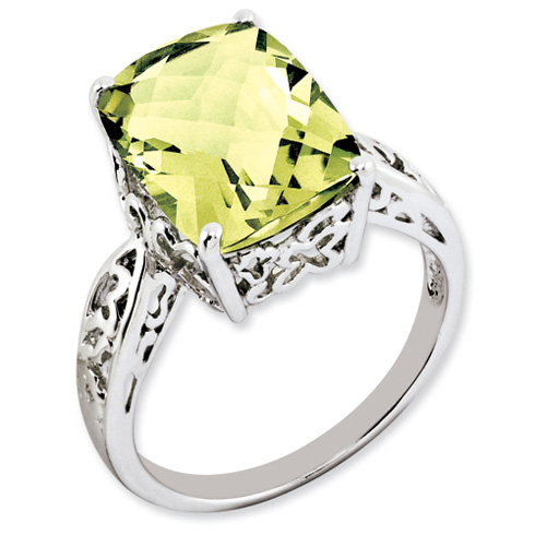 6.55 ct Sterling Silver Lemon Quartz Ring