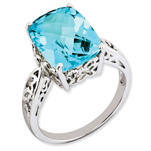 7.15 ct Sterling Silver Light Swiss Blue Topaz Ring