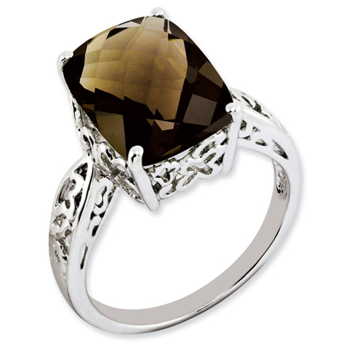 6.55 ct Sterling Silver Smokey Quartz Ring