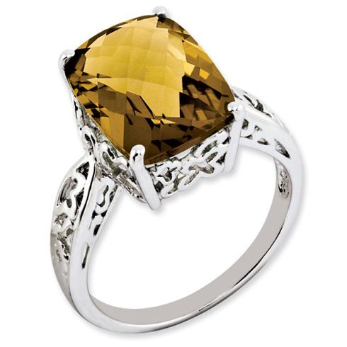 Sterling Silver 6.55 ct Whiskey Quartz Ring Pierced Design