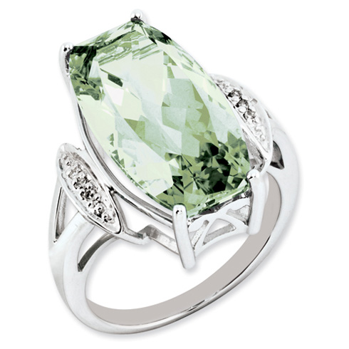14 ct Sterling Silver Green Quartz and Diamond Ring