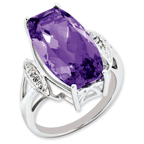 14 ct Sterling Silver Amethyst and Diamond Ring