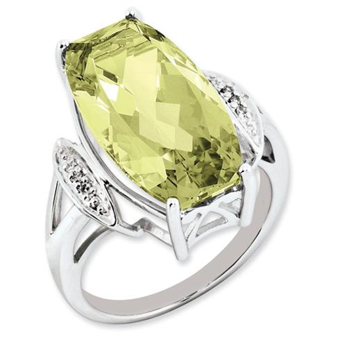 14 ct Sterling Silver Lemon Quartz and Diamond Ring