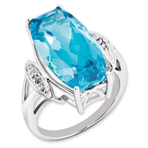 16.5 ct Sterling Silver Light Swiss Blue Topaz and Diamond Ring