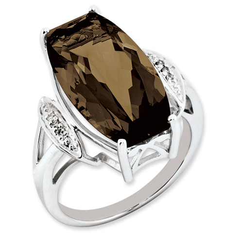 Sterling Silver 14 ct Barrel Smoky Quartz and Diamond Ring