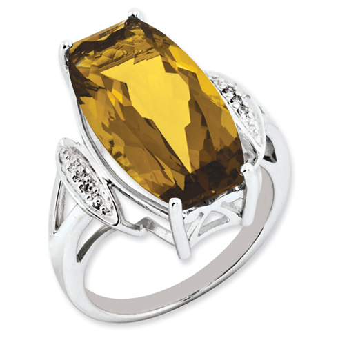14 ct Sterling Silver Whiskey Quartz and Diamond Ring
