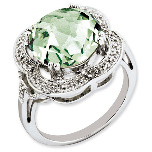 6.2 ct Sterling Silver Green Quartz Ring