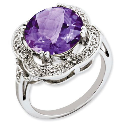 Sterling Silver 6.2 ct Checkerboard Amethyst Ring