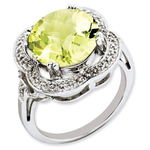 6.2 ct Sterling Silver Lemon Quartz Ring