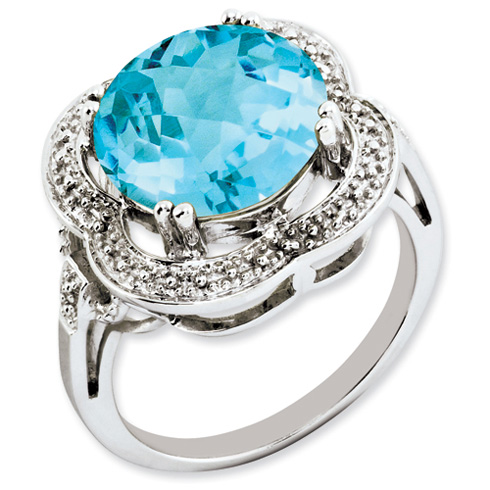 7.75 ct Sterling Silver Light Swiss Blue Topaz Ring