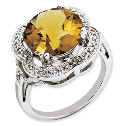 6.2 ct Sterling Silver Whiskey Quartz Ring