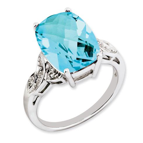 7.15 ct Sterling Silver Light Swiss Blue Topaz Ring