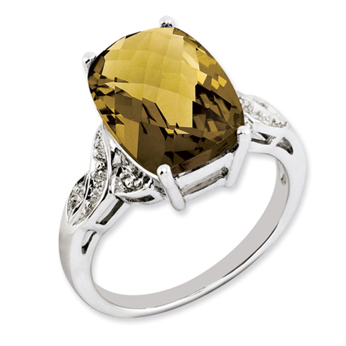 6.55 ct Sterling Silver Whiskey Quartz Ring