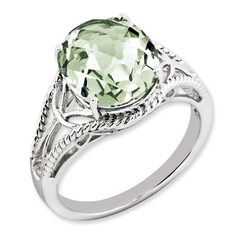4.55 ct Sterling Silver Green Quartz Ring