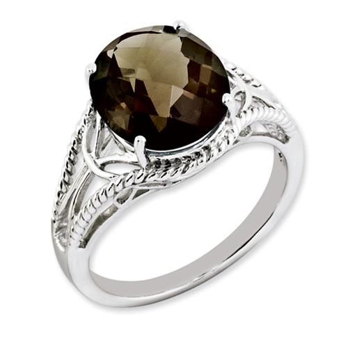 4.55 ct Sterling Silver Smokey Quartz Ring