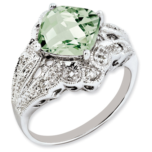 3.2 ct Sterling Silver Green Quartz and Diamond Ring