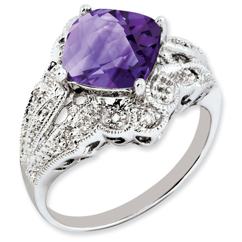 3 ct Sterling Silver Amethyst and Diamond Ring
