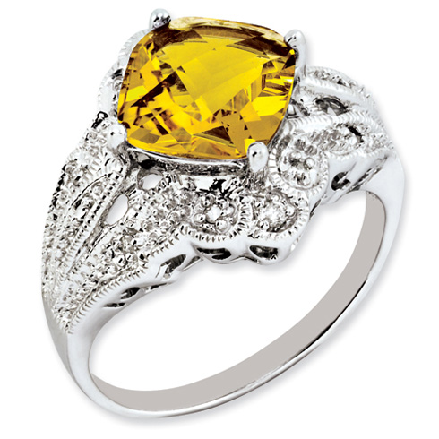 Sterling Silver 3.1 ct Square Checkerboard Citrine and Diamond Ring