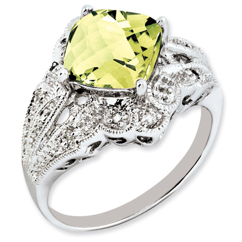 3.2 ct Sterling Silver Lemon Quartz and Diamond Ring