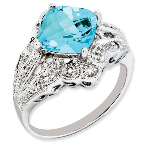 3.8 ct Sterling Silver Light Swiss Blue Topaz and Diamond Ring