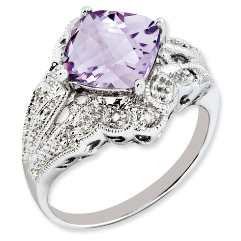 3.2 ct Sterling Silver Pink Quartz and Diamond Ring