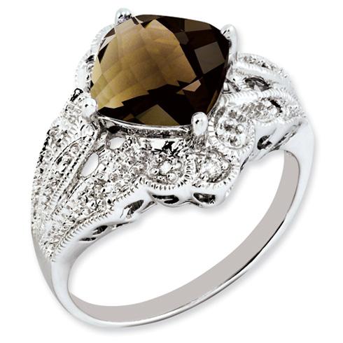3.2 ct Sterling Silver Smokey Quartz and Diamond Ring